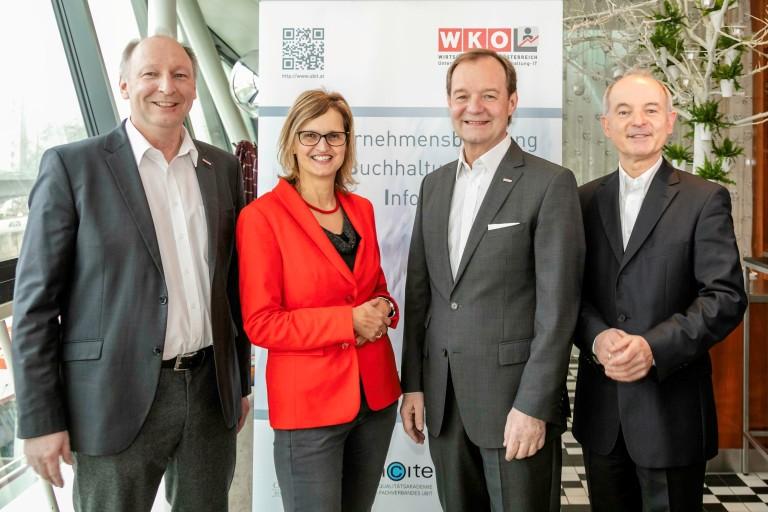Foto SpeakerInnen (v.l.n.r.) Martin Zandonella, Martina Gaisch, Alfred Harl, Norbert Wohlgemuth (c) Martin Hron